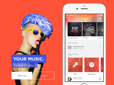 Music App • Onboarding & Browse views