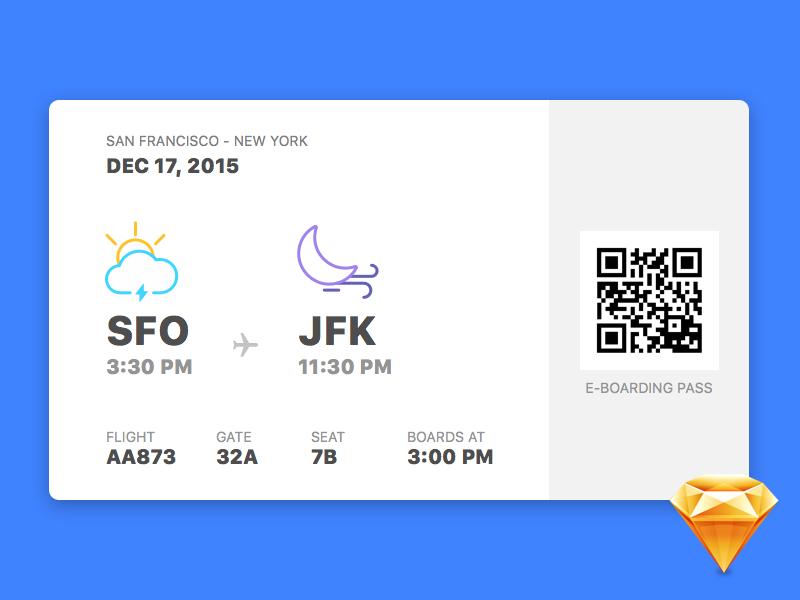 E-Boarding Pass resource download weather freebie sketch boarding pass travel ui flat app interface