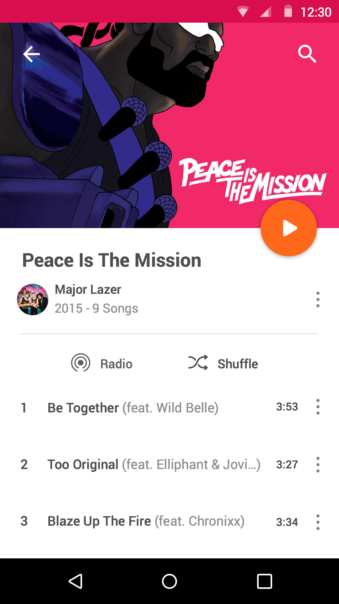 Android play music album
