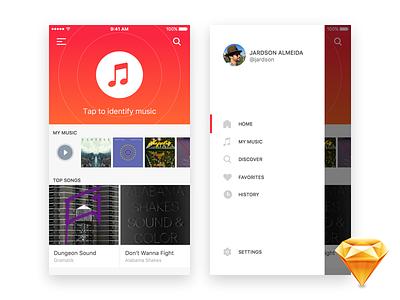 iOS Music Identifier - Freebie resource download free freebie sketch ui kit music ui flat app interface