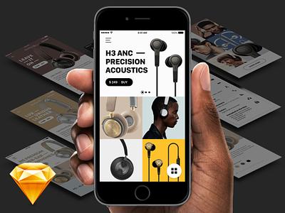 B&O Play — Sketch FREEBIE ecommerce interaction ux music bo freebie sketch ui ios app interface