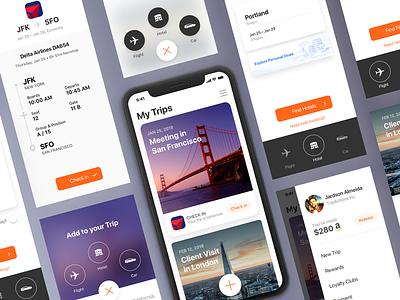TripActions iOS App Redesign Proposal material fab iphonex trip travel interface uiux ux ui ios tripactions app