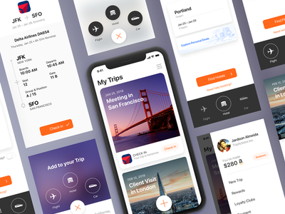 TripActions iOS App Redesign Proposal material fab iphonex trip travel interface uiux ux ui ios tripactions app