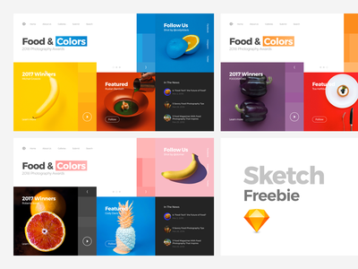 Food Photography Awards Website (Sketch FREEBIE) mondrianizm mondrian website animation principle photography ui ux interaction interface colors freebie