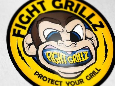 Mouth Guard Illustrated Logo mma wrestling grappling bjj jiu-jitsu monkey illustration logo design