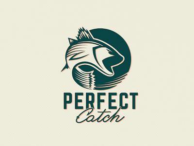 Perfect Catch logo camping outdoors bass fish fishing identity branding logo