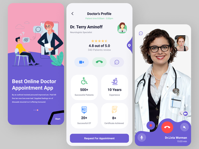 Online Doctor Appointment App art illustration ui web ux logo app design