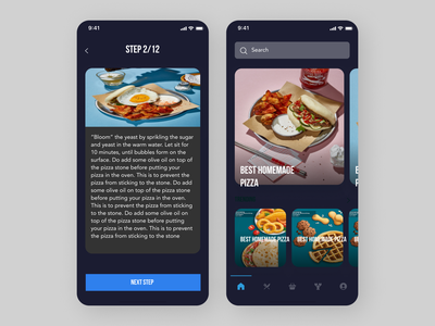Online Cooking Recipe App typography icon web art ux ui design app