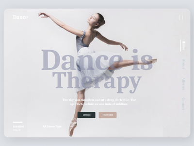 Dance school web design minimal logo new online typography web art ux ui design