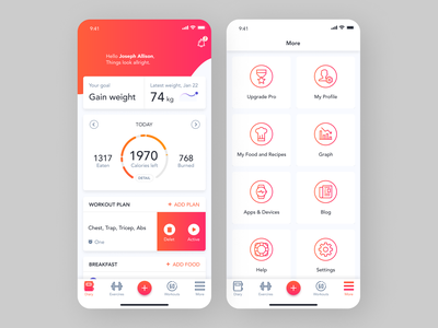 Weight loss App ux ui design app