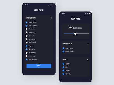 Diet tracker App flat minimal web ui ux design app