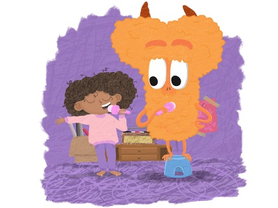 Monster with a little girl with curly hair curly curly hair children illustration book cover design characterdesign childrens book illustration art cute monster cute illustration funny illustration childrens illustration children book illustration