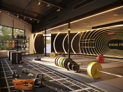 3D Fitness Studio athlete gym logo fitness center fitness architecture design 3d renders 3d modeling