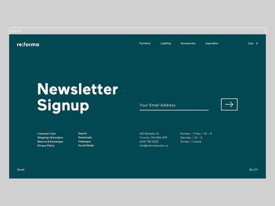 Reforma Studio – Newsletter Signup logotype website typography newsletter identity brand identity art direction email ux ui furniture store e-commerce desktop ui design ux design web design graphic  design branding