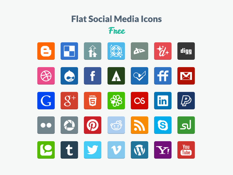 Flat Social Media Icons ui flat flat design psd free freebie icons social media