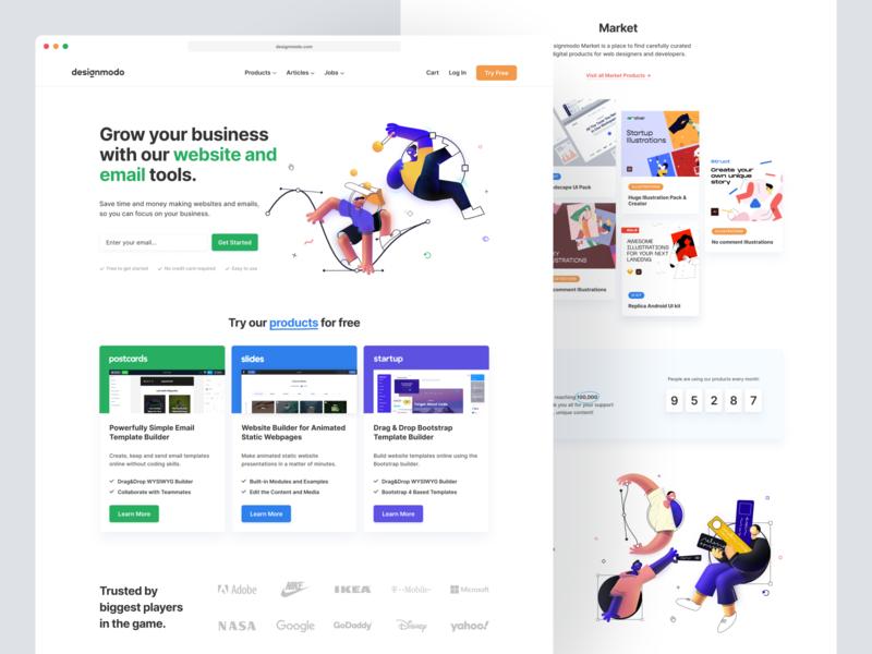 Designmodo's New Homepage branding illustration ui user interface web design website builder websites emails illustrations firstpage homepage design