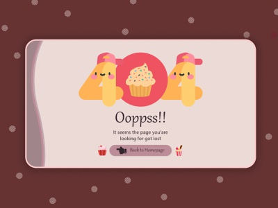 404 Page Concept - Daily UI 008 errorui 404page webpage cupcake cake errorpage error 404 illustration ui design dailyui graphic design