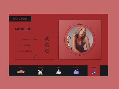 Car Interface - Daily UI 034 player musicplayer music dailyui034 carinterface interface car webdesign webapp uiux ux illustration ui graphic design design dailyui