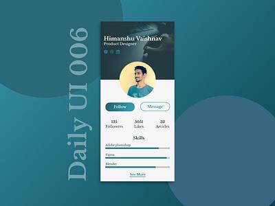 Daily UI designer ui daily dribbble profile user user-profile 006 dailyui
