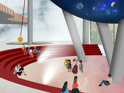 Interior of Planetarium architect architecture illustration