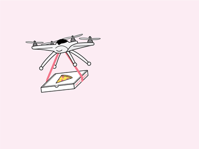 Pizza Drone technology pink hopeful future drone pizza