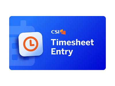 Welcome Screen for a Timesheet App fintech timesheet time clock orange blue logo