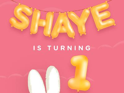 My kids first Birthday invite illustration art design happy one balloons balloon pink floor wood clouds dog snuffy bunny miffy birthday invite illustration