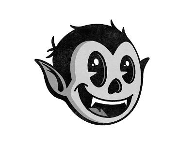 Batboy Mascot max fleischer pie eyes pie eye logo black  white 1930 rubberhose fangs fang teeth illustration icon vampire bat mascot