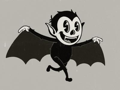 Batboy Body skeleton dead grey dark black night wings wing cute teeth rubberhose 1930 pieeye pie eye character vampire bat truegrit procreate illustration