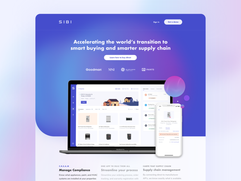 Sibi - Landing Page property management property proptech landing page design landing uiux ui userinterface user experience landing page ui website designer website design blur purple gradient marketing homepage landing page homepage