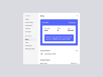 Teamflow - Workspace settings - Billing layout ui sidebar popup settings admin modal teamflow clean settings ui desktop application product design light mode