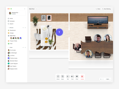 Teamflow for Mac dock minimap sidebar light mode product design mac app desktop application layout user experience video conference zoom spatial design audio chat voice chat remote work virtual office spatial software