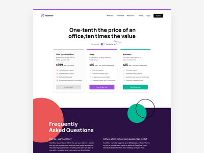 Teamflow Pricing teamflow desktop website landing branding abstract geometric shapes pricing plans pricing plan pricing page pricing pricing cards pricing tables