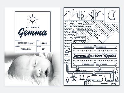 Gemma's Birth Announcement print illustration linework baby announcement birth announcement gemma emerson tippins