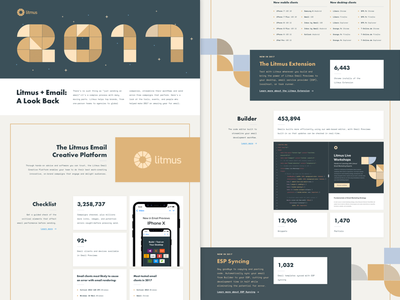 Litmus - Year In Review - 2017 ui typography illustration infographic shapecasting visual design year in review geometric landing page