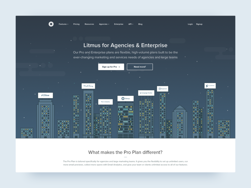 Litmus for Agencies & Enterprise landing page enterprise simple litmus illustration flat design stars night skyline city flat