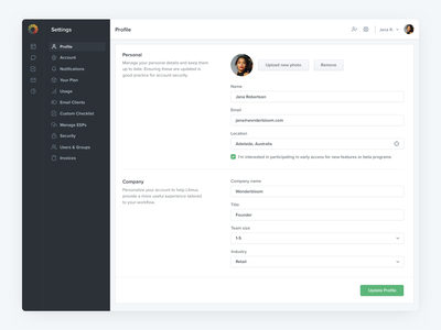 Profile - Litmus form design forms ux settings profile user profile layout interface app ui