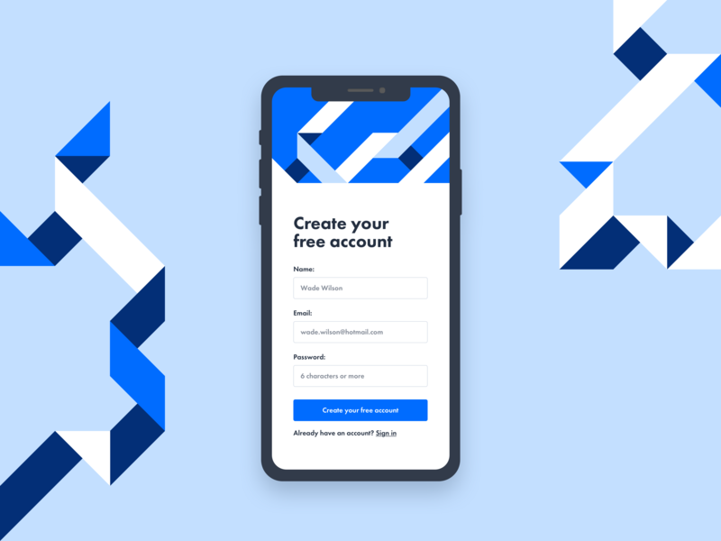 Daily UI 001 - Signup color study illustration geometric shapes ux mobile ui design ui design dailyui 001 daily ui challenge dailyui branding ios mobile signup signup app