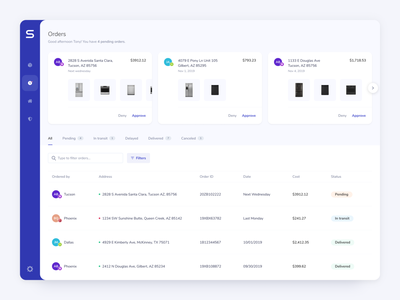 SIBI - Dashboard - Orders cards ui cards app ui dashboard app sibi clean dashboard ux interface orders invoice order history property management user experience user interface dashboard ui product design