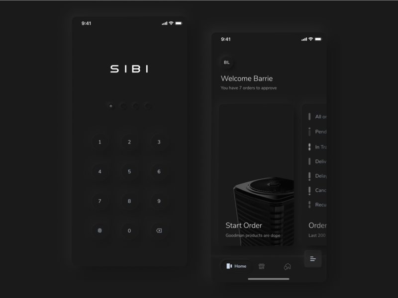 SIBI Mobile App - Dark Mode app dark ui dark app iphone mobile soft ui neumorphism neumorphic shadow mobile ui dark mode dark app design