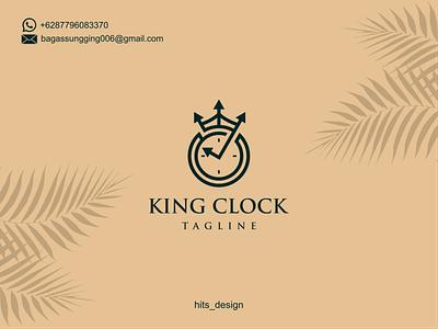 KING CLOCK typography logo illustration icon design branding