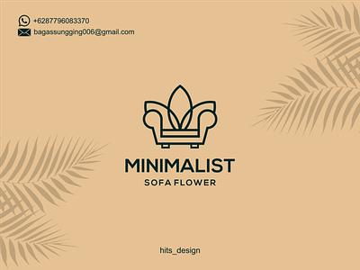 MINIMALIST SOFA FLOWER typography logo illustration icon design branding