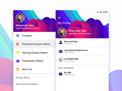 Profile and side navigation menu in android