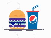 Colorful Burger & Pepsi