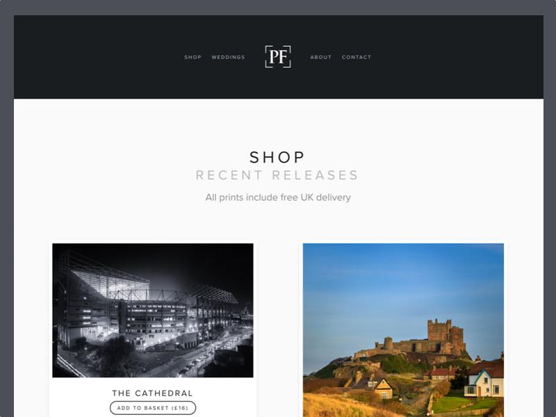 Polaroids monochrome grey portfolio photography shop user interface ui web polaroids