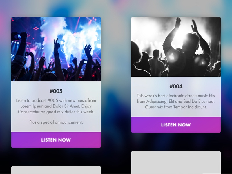 Podcast website: archive page masonry layout masonry podcast site play now archive podcast saturation transparency blur button gradient colourful