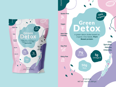A green detox shake based on organic Chia Seeds matcha protein allergy glutenfree vehan green mix chia detox vector branding typography packaging design illustration