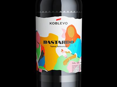 Wine Bottle Label koblevo mockup packaging label wine label wine flat colorful vector illustration