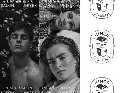 Branding & Packaging Design for King & Queens unisex salon typography packaging print brand identity branding salon queen king logo
