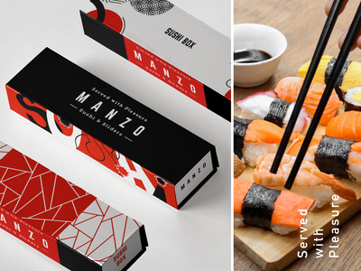 Redesign the packaging for Manzo mailer sushi bar box restaurant fish sushi packaging vector illustration colorful branding